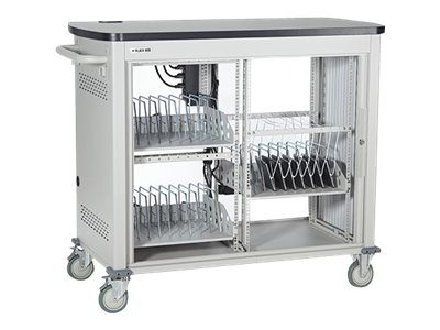 Black Box Double Frame Universal Computing Cart, 27 Medium Device Configuration, Tambour Door, UCCDM27T, 16004410, Computer Carts