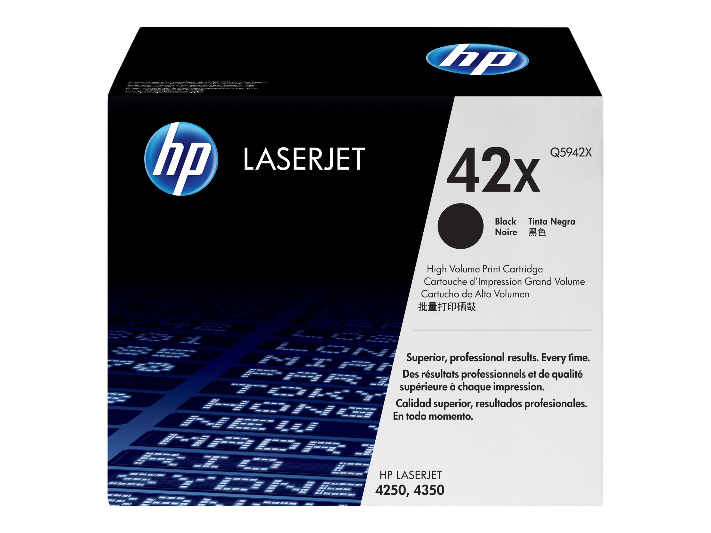 HP 42X (Q5942X) High Yield Black Original LaserJet Toner Cartridge for HP LaserJet 4250 & 4350 Printers