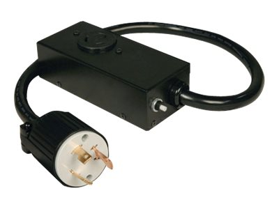 Tripp Lite Power Cable, L5-30P to L5-20R, with 20A Breaker, Black, 2ft, P043-002, 8338647, Power Cords