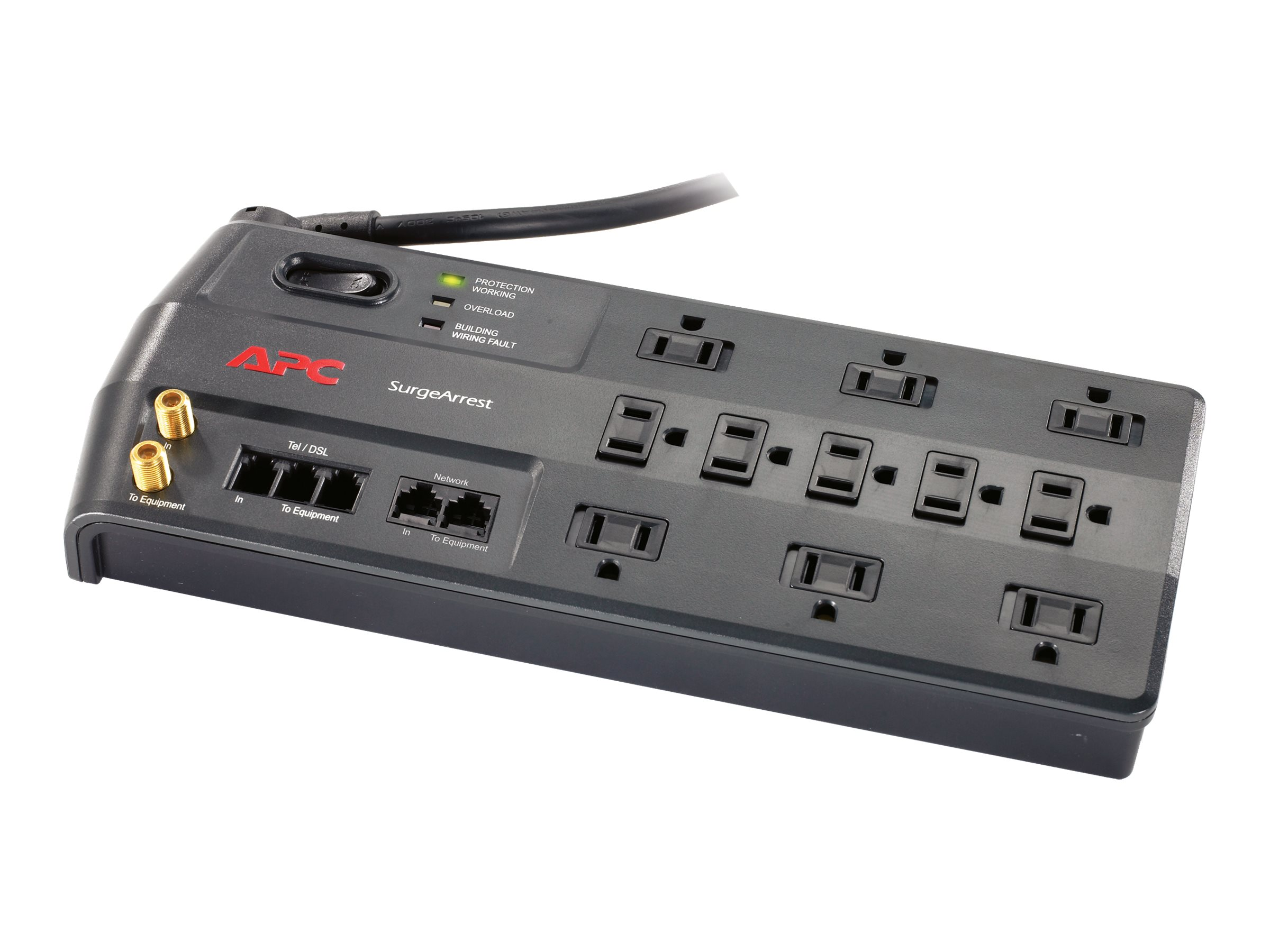 APC Performance SurgeArrest 3020 Joules with Telephone Splitter, Coax, Network, 120V, (11) Outlets, P11VNT3