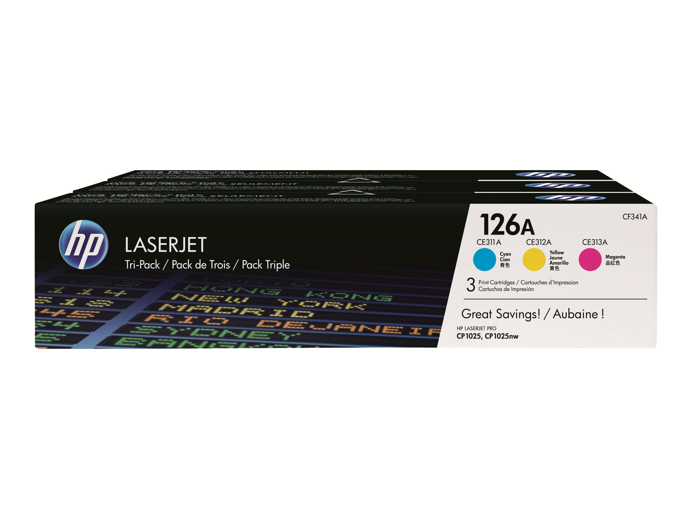 HP 126A (CF341A) 3-pack Cyan Magenta Yellow Original LaserJet Toner Cartridges, CF341A, 13617270, Toner and Imaging Components