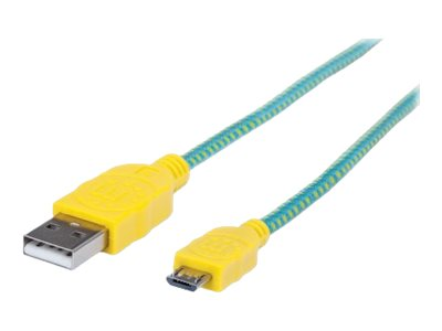 Manhattan USB 2.0 Type A to Micro USB Type B M M Braided Cable, Teal Yellow, 6ft, 393997