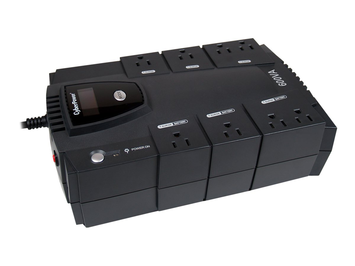 CyberPower 600VA 340W Intelligent LCD UPS, (8) Outlets with PowerPanel Software, CP600LCD