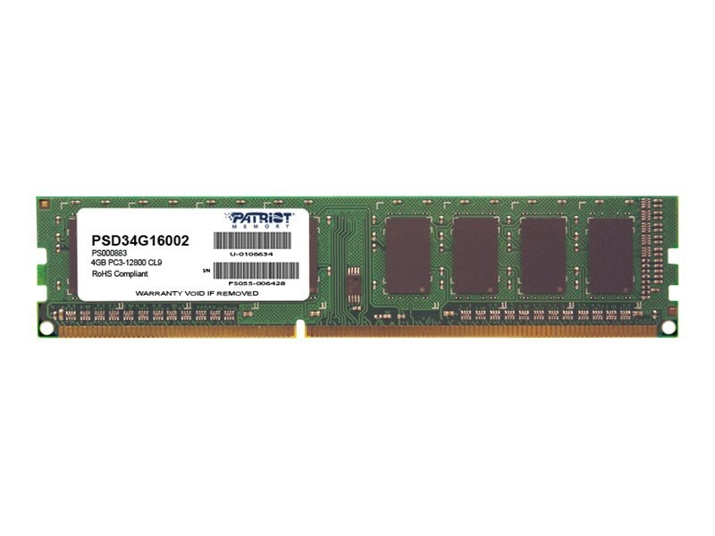 Patriot Memory 4GB PC3-12800 240-pin DDR3 SDRAM DIMM, PSD34G16002