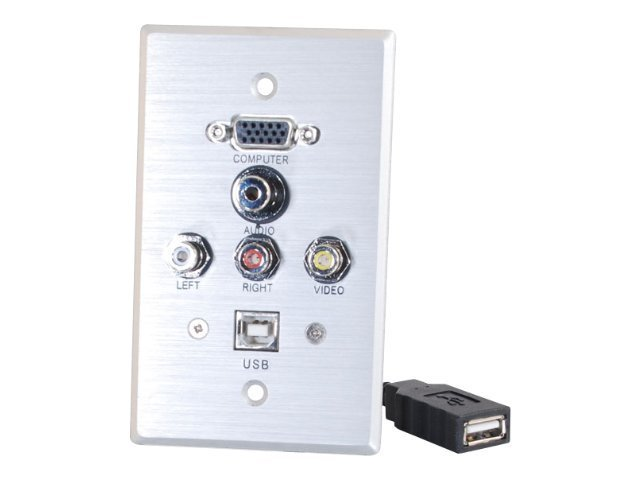 C2G Single Gang HD15 3.5mm RCA USB Wall Plate, Brushed Aluminum, 40543, 10641670, Premise Wiring Equipment