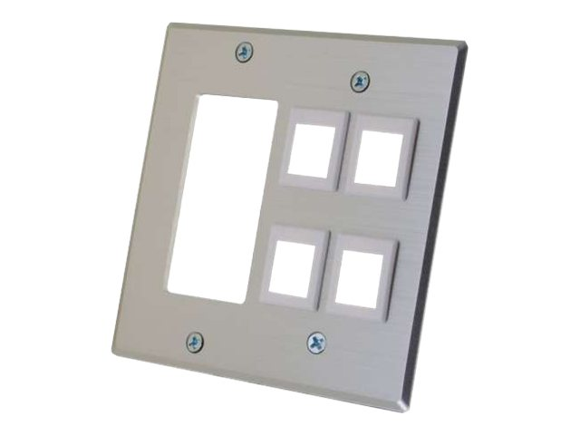 C2G Decora Compatible Cutout, (4) Keystone, Double Gang Wall Plate, Aluminum, 41340