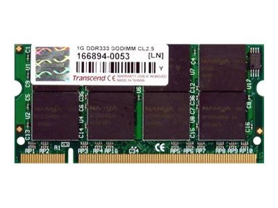 Transcend 1GB PC2700 200-pin DDR SDRAM SODIMM for Select Acer Models, TS128MSD64V3A, 8978433, Memory