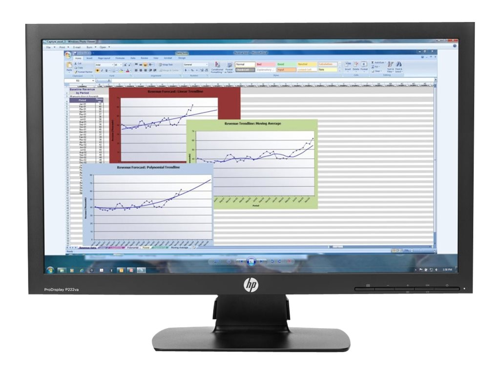 HP 21.5 ProDisplay P222VA Full HD LED-LCD Monitor, Black