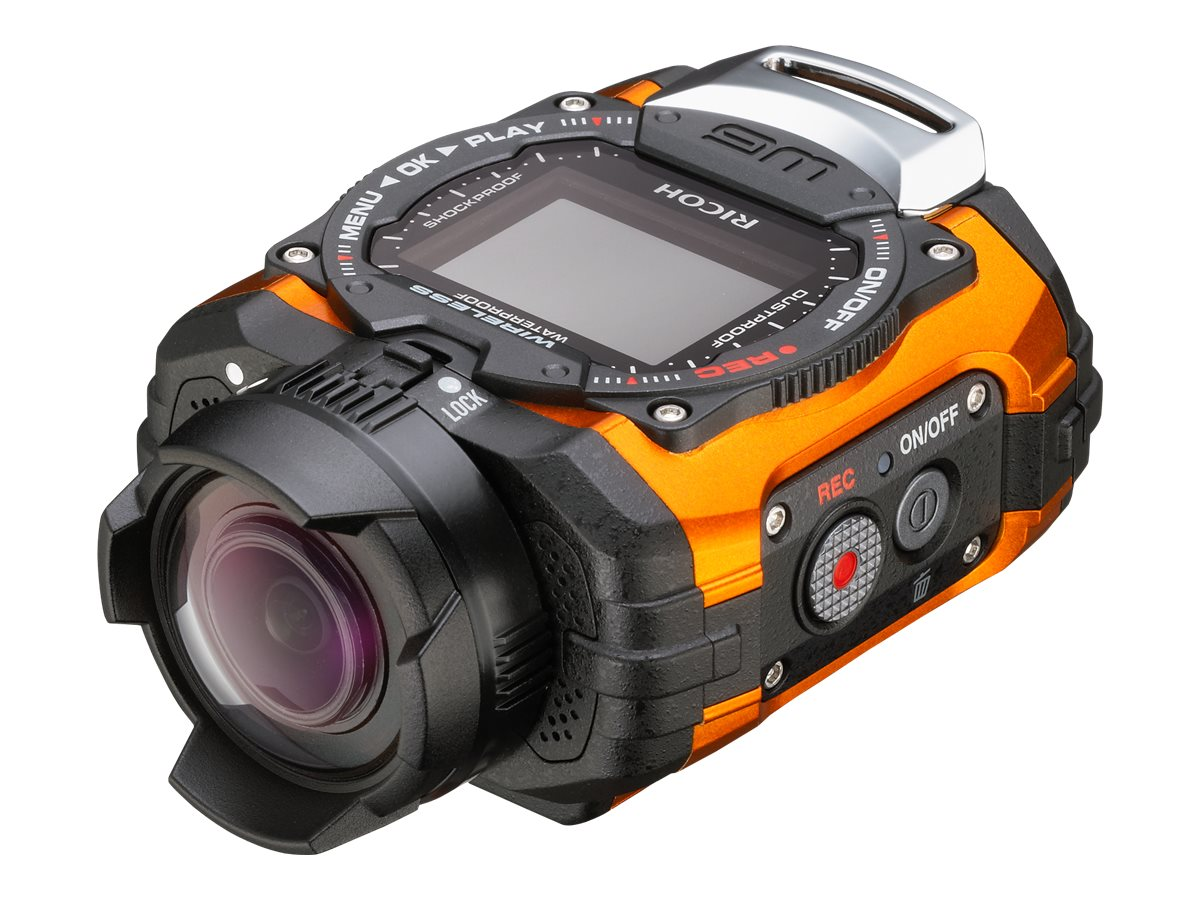 Pentax WG-M1 Waterproof Shockproof Digital Camera, 14MP, Orange with Ultra Wide Angle Lens, 08288, 17825640, Cameras - Digital - Point & Shoot