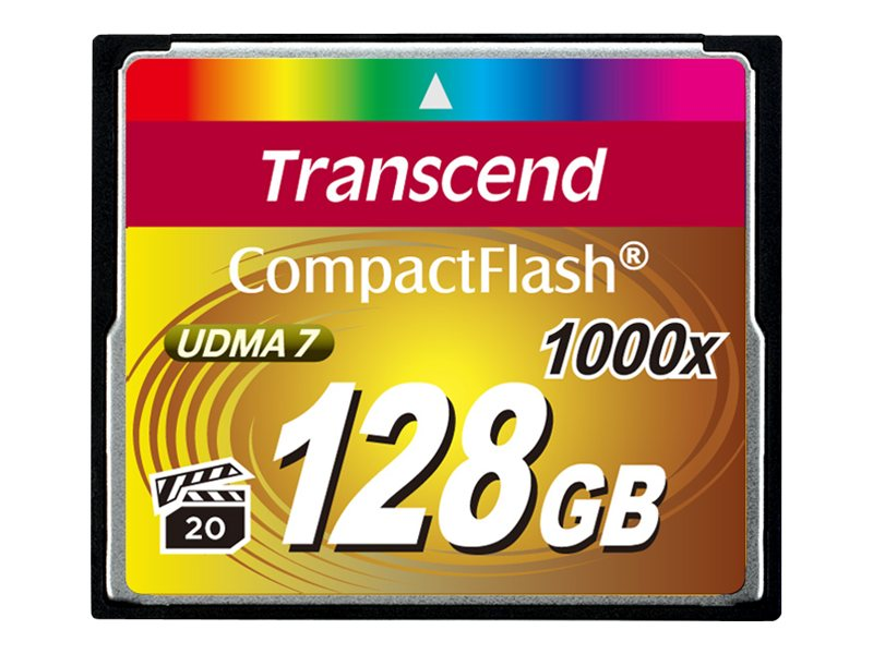Transcend 128GB 1000x CompactFlash Memory Card, TS128GCF1000, 15386129, Memory - Flash