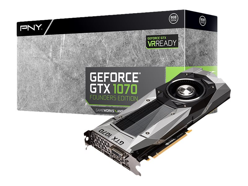 PNY GeForce GTX 1070 PCIe 3.0 x16 Founders Edition Graphics Card, 8GB GDDR5, VCGGTX10708PB-CG