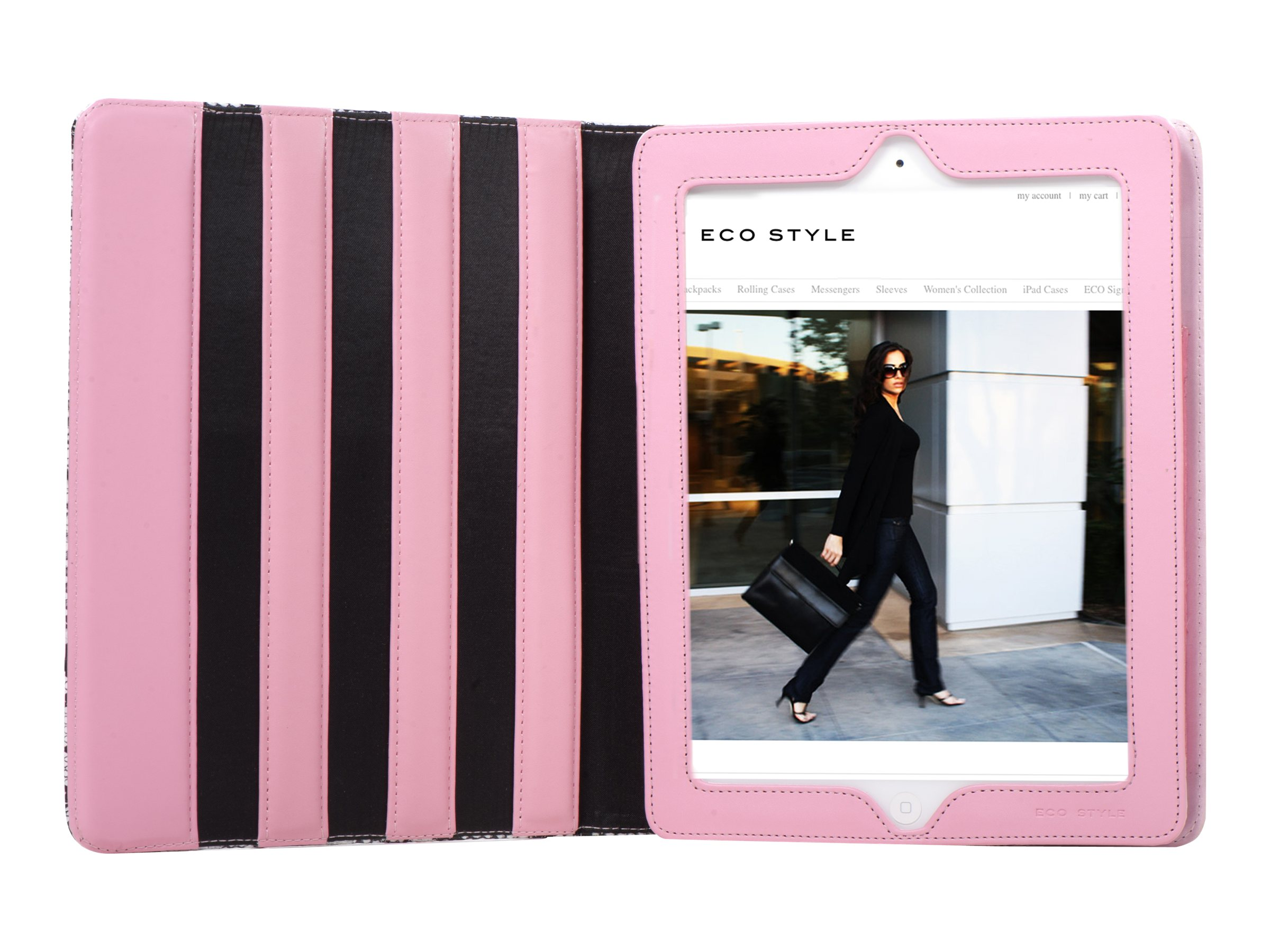Eco Style Saigon iPad 2 Case, Black White Pink, ESAI-BW10