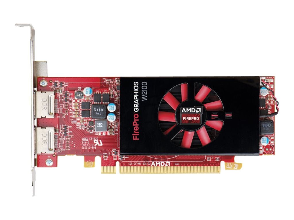 HP AMD FirePro W2100 PCIe 3.0 Graphics Card, 2GB DDR3