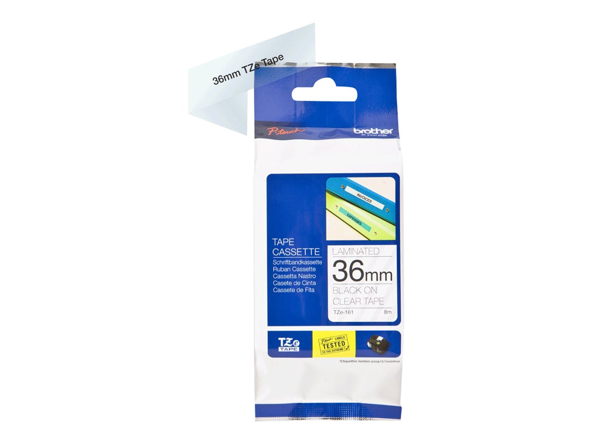 Brother 1.4 x 26.2' TZe161 Black on Clear Tape for P-Touch