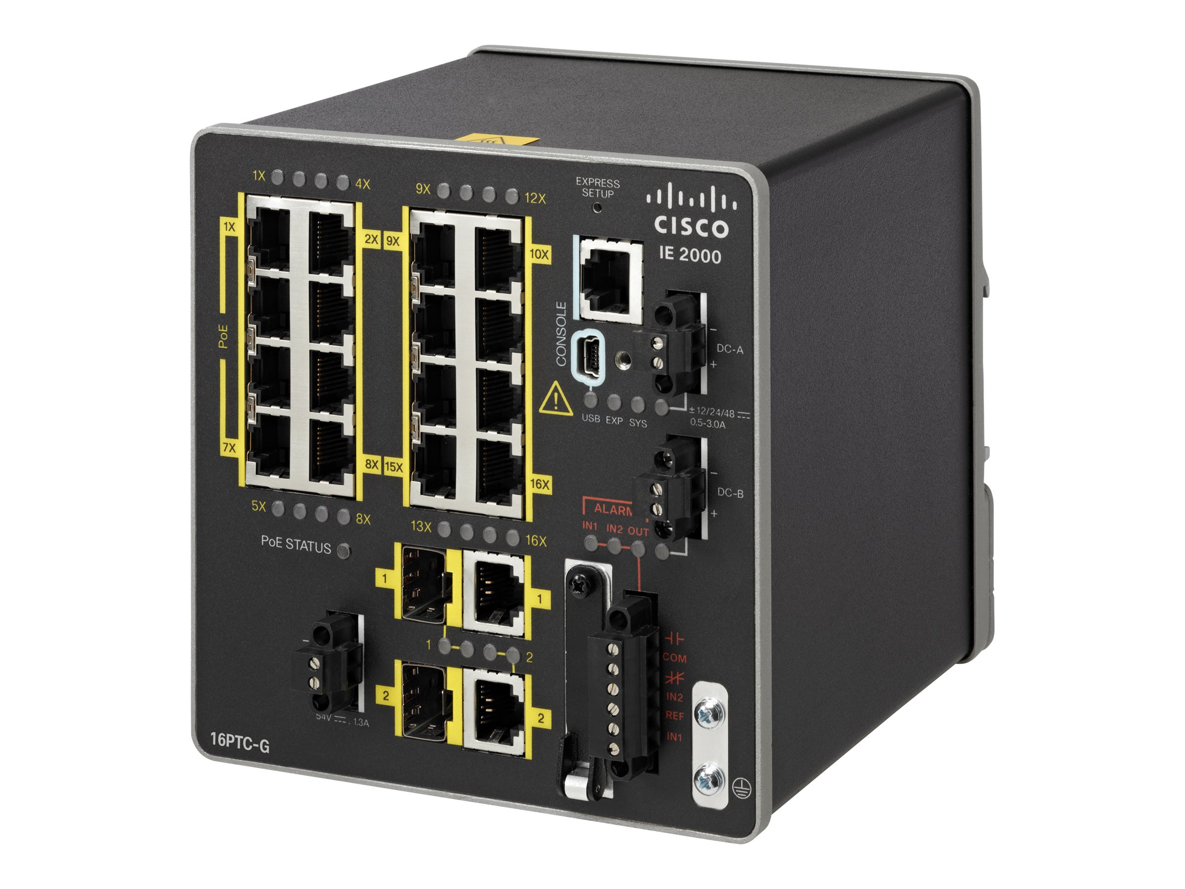 Cisco 20-Port Industrial Ethernet 2000 Series Switch 2FE SFP+2T SFP Base w 1588 PoE  NAT & CC GE, IE-2000-16PTC-G-NX
