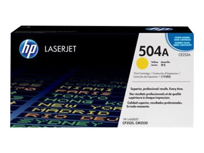 HP 504A (CE252A) Yellow Original LaserJet Toner Cartridge for HP Color LaserJet CP3525 & CM3530 MFP, CE252A, 8944153, Toner and Imaging Components