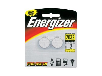 Energizer Battery, Lithium 2032 Watch Coin-type 3V 240mAh (2-pack), 2032BP-2