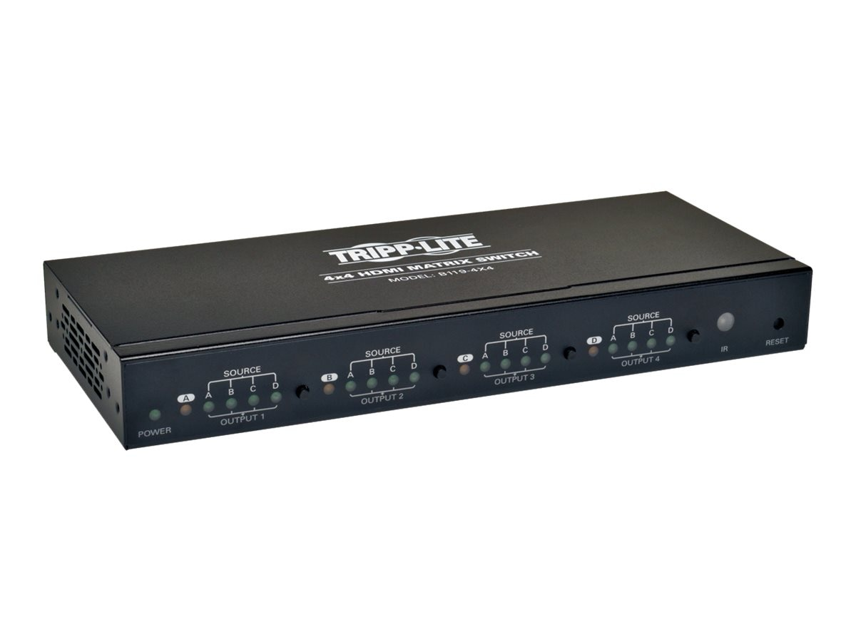 Tripp Lite 4x4 HDMI Matrix Switch for Video and Audio, 1920x1200 at 60Hz   1080p, B119-4X4
