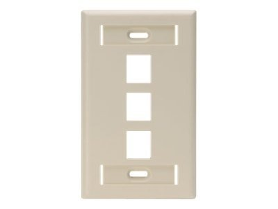 Leviton Single-Gang QuickPort Wallplate with ID Windows, 3-Port, Ivory