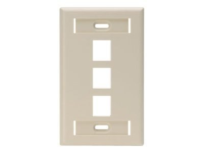 Leviton Single-Gang QuickPort Wallplate with ID Windows, 3-Port, Ivory, 42080-3IS, 17651301, Premise Wiring Equipment