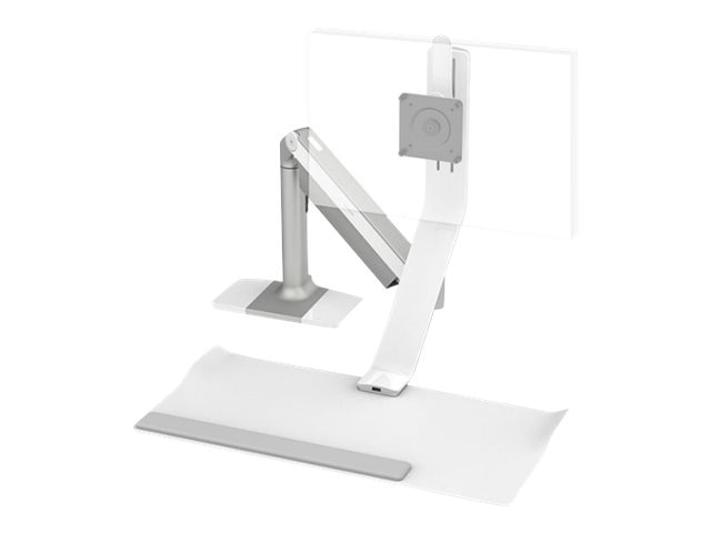 Humanscale Quickstand Lite with Single Monitor Support, Grommet Mount, Silver