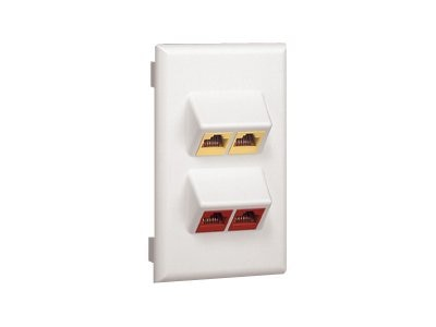 Panduit Snap-on 4-Position Sloped Vertical Faceplate, Accepts (4) NetKey Modules, Electric Ivory