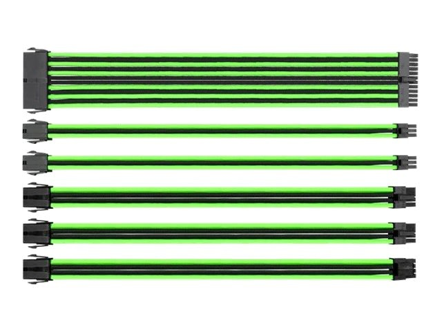 Thermaltake 16AWG Thermaltake TtMod Sleeve Cable Kit, Green Black, AC-034-CN1NAN-A1