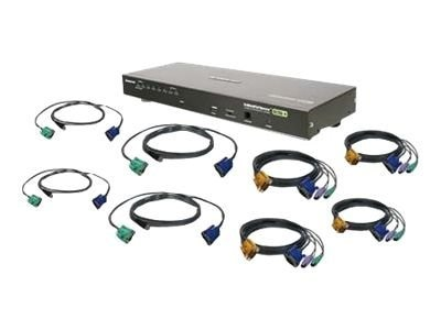 IOGEAR 8-Port VGA KVM Switch, PS 2 & USB, TAA Compliant, with (4) PS 2 Cables & (4) USB Cables