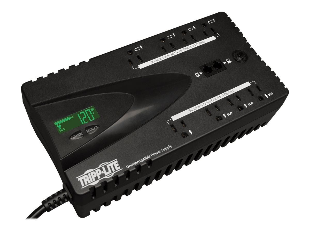 Tripp Lite Eco 650VA 325W Energy-saving Standby 120V UPS, (12) Outlets, USB Port, Energy Star, TAA Compliant, ECO650LCDTAA