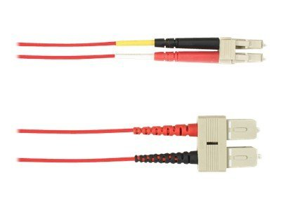 Black Box SC-LC 62.5 125 OM1 Multimode Fiber Optic Cable, Red, 1m, FOCMR62-001M-SCLC-RD