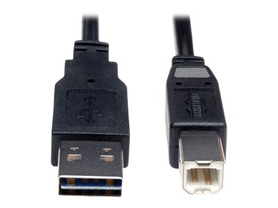 Tripp Lite Universal Reversible USB 2.0 A-Male to B-Male Device Cable, 3ft, UR022-003, 16130977, Cables