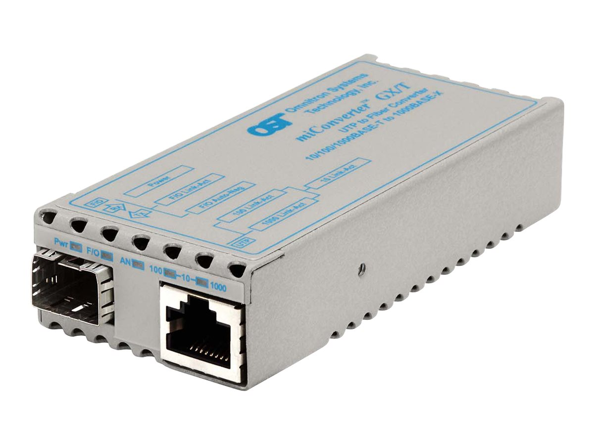 Omnitron Miconv 10 100 1000BT RJ45 to 1000B-X SFP Option US Power, 1239-0-1, 9403076, Network Transceivers