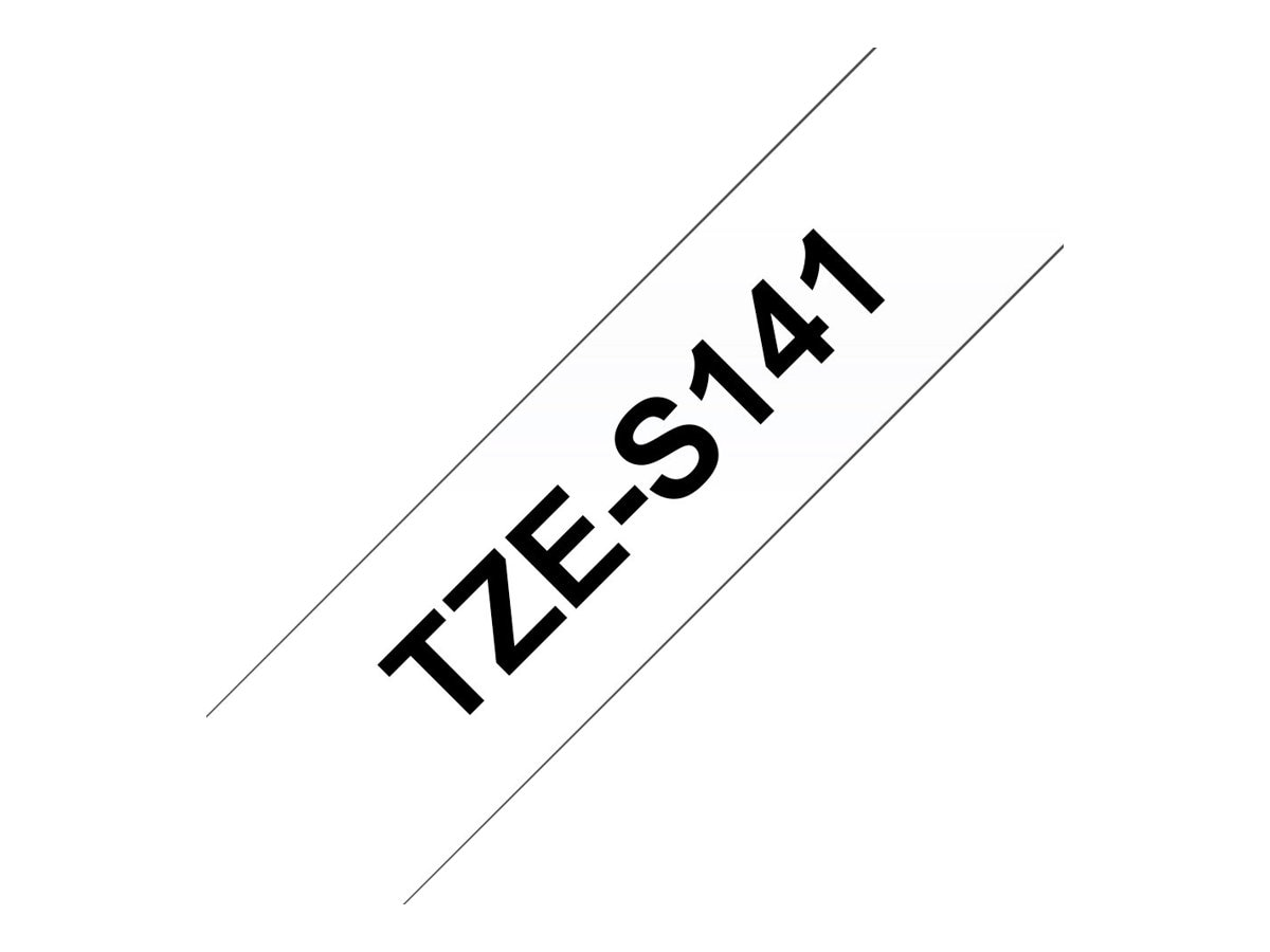 Brother 0.7 x 26.2' TZeS141 Black on Clear w  Extra Strength Adhesive Tape, TZE-S141