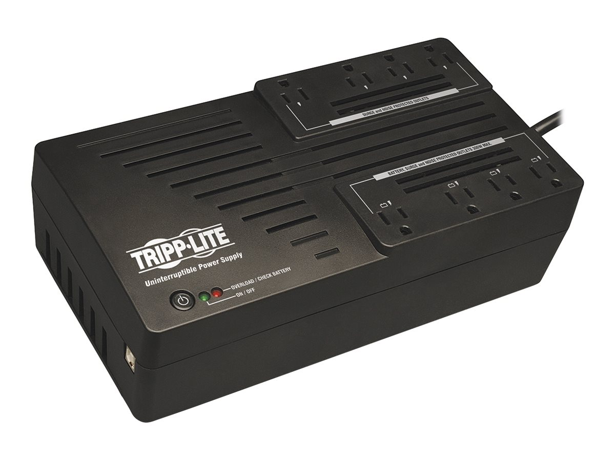 Tripp Lite AVR Series 650VA 325W Ultra-Compact Line Interactive 120V UPS, (8) Outlets, USB Port, Muted Alarm