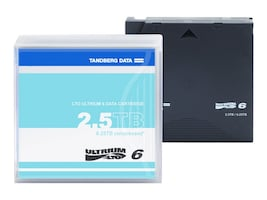 Tandberg Data 2.5TB 6.25TB LTO-6 Tape Cartridge, 434021, 15115417, Tape Drive Cartridges & Accessories
