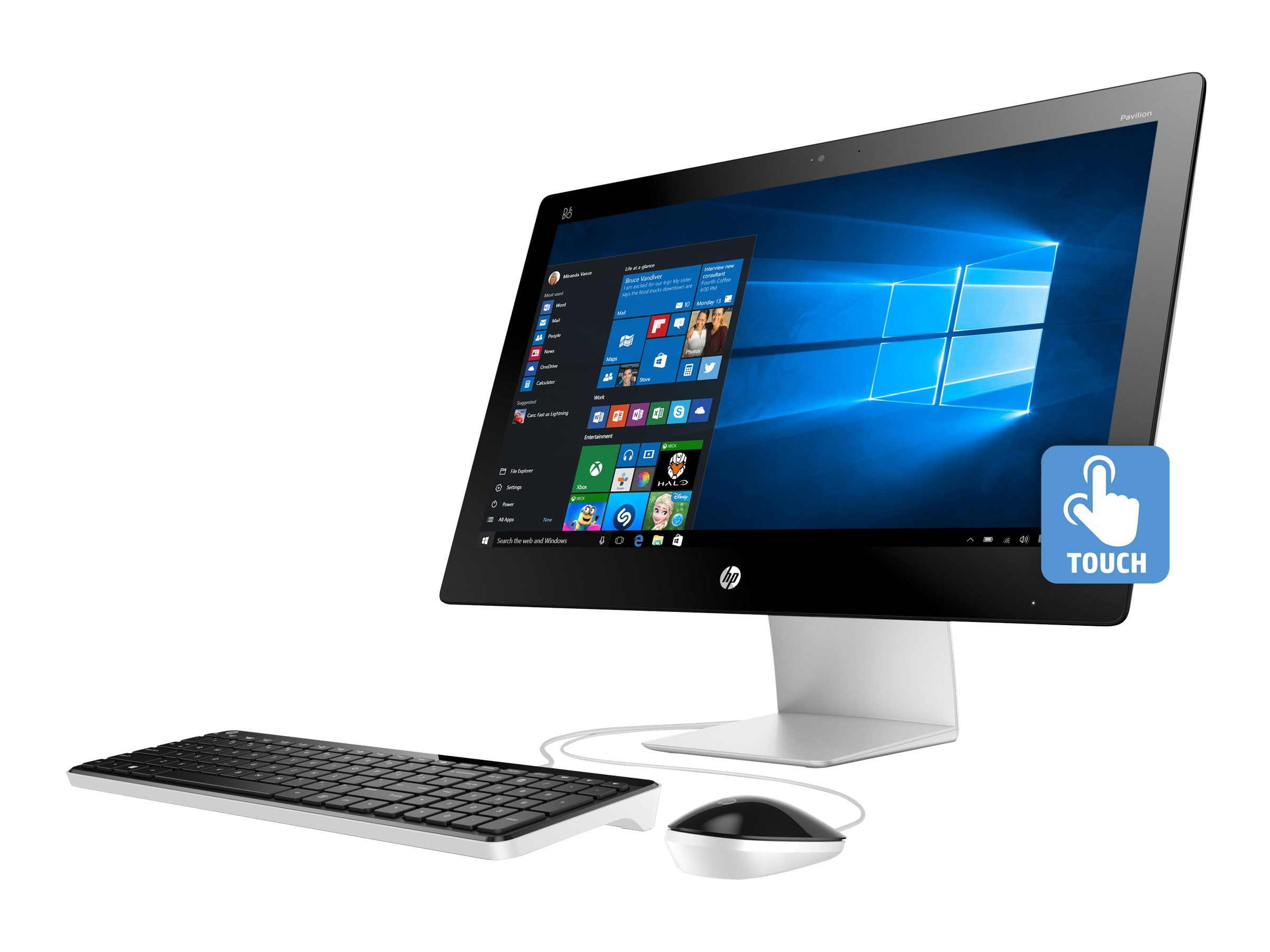 HP Pavilion 23-q110 AIO AMD QC A8-7410 2.2GHz 4GB 1TB Radeon R5 DVD SM GbE ac BT WC 23 FHD MT W10H64, M9Z59AA#ABA, 30616551, Desktops - All-in-One