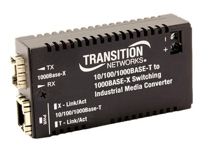 Transition 10 100 1000 BASETX TO SC SM 3.3V IND Media Converter, M/GE-ISW-LX-01