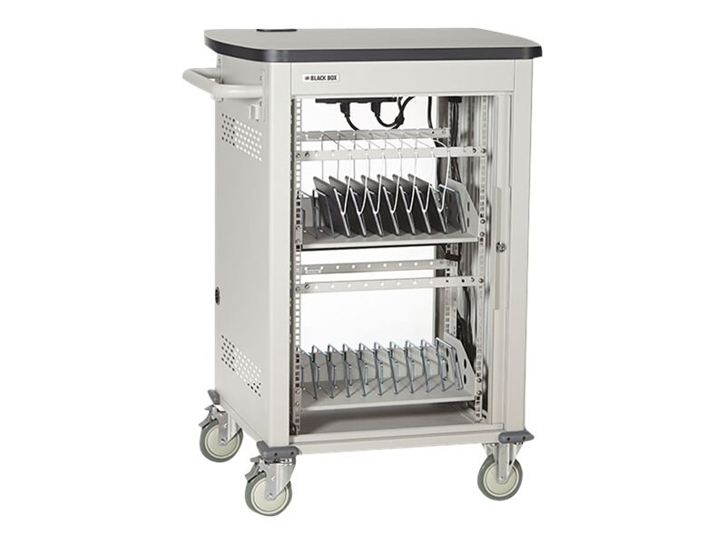 Black Box Adjustable-Shelf 36-Slot Charging Cart for Select Devices up to 7