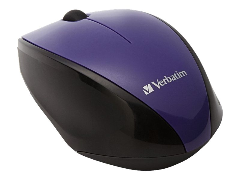 Verbatim Multi-Trac Blue LED Mouse, Wireless, Optical, Purple, 97994