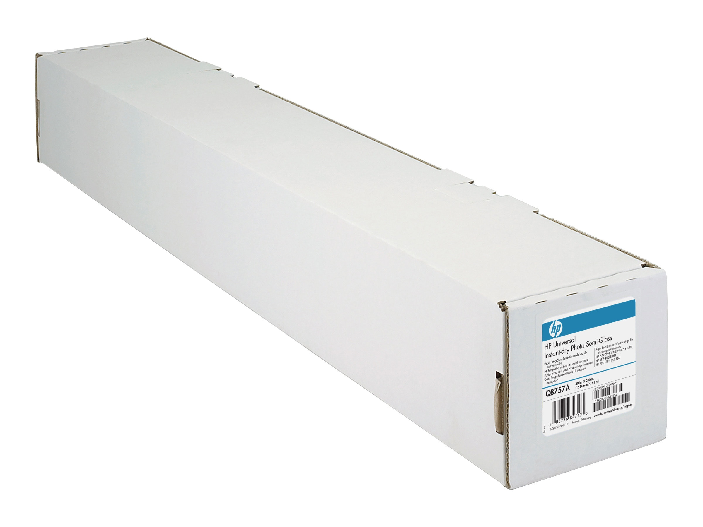 HP 60 x 200' Universal Instant Dry Semi-Gloss Photo Paper, Q8757A