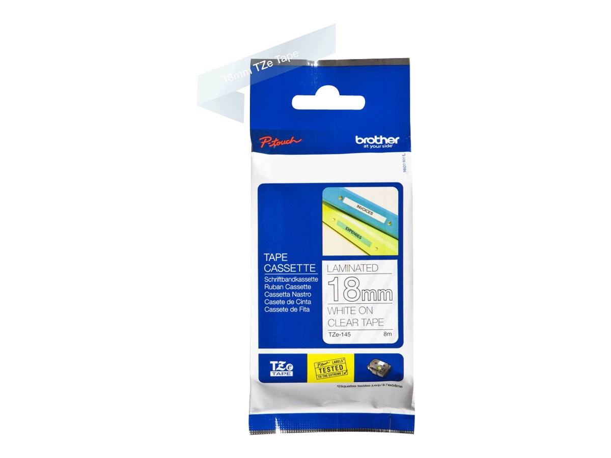 Brother 0.7 x 26.2' TZe145 White on Clear Tape for P-Touch 8m, TZE-145