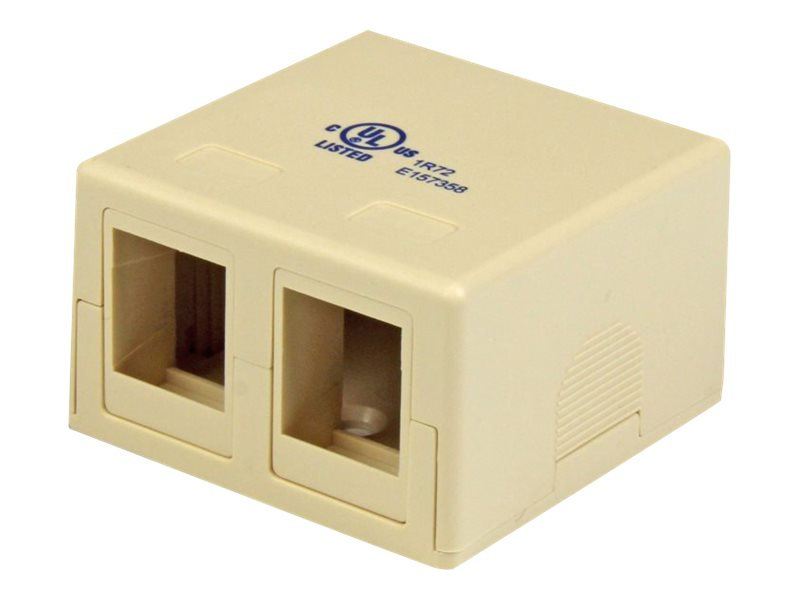 StarTech.com Dual Cat5e RJ-45 Wall Box, Ivory, WALLBOX2KIV, 16275244, Premise Wiring Equipment