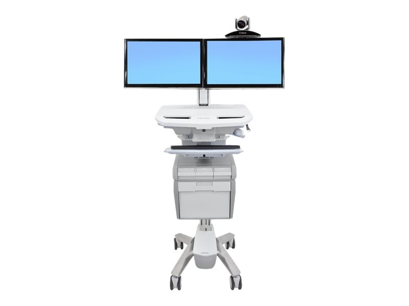 Ergotron StyleView Telepresence Cart, Dual Monitor, Powered, SV42-56E1-1, 16336502, Computer Carts - Medical
