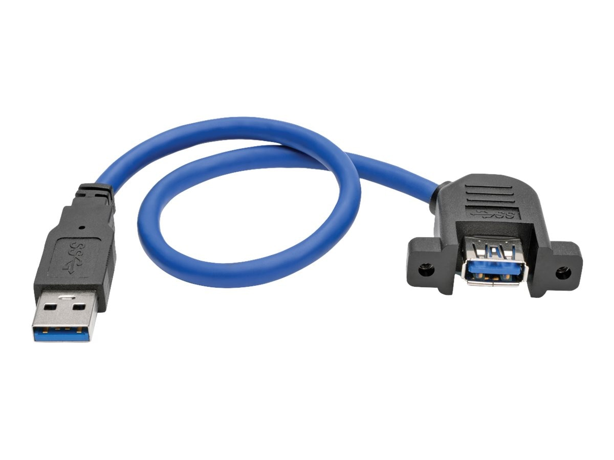 Tripp Lite USB 3.0 SuperSpeed Panel-Mount Type-A M F Extension Cable, Blue, 1ft