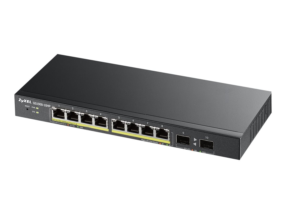 Zyxel 8-Port GbE Smart Managed PoE Web Switch, GS1900-10HP, 31225472, Network Switches