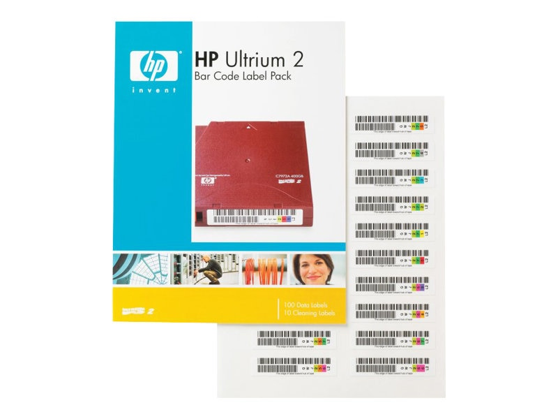 HPE Bar Code Label Pack (100 data labels, 10 cleaning labels) for Ultrium 230 Q2002A, Q2002A