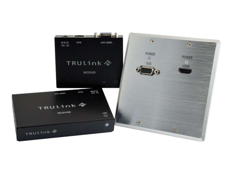 C2G TruLink HDMI + VGA over Cat5 Extender Aluminum Wall Plate Transmitter to Box Receivers Kit, 29212, 16912776, Video Extenders & Splitters