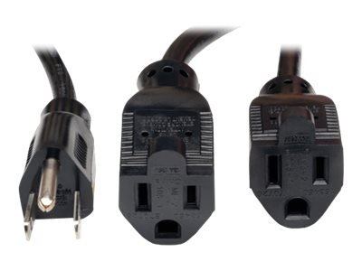 Tripp Lite Power Splitter Cord NEMA 5-15P to (2) NEMA 5-15R, 16AWG, 13A, 18, Black, P024-18N-13A-2R, 16327518, Power Cords