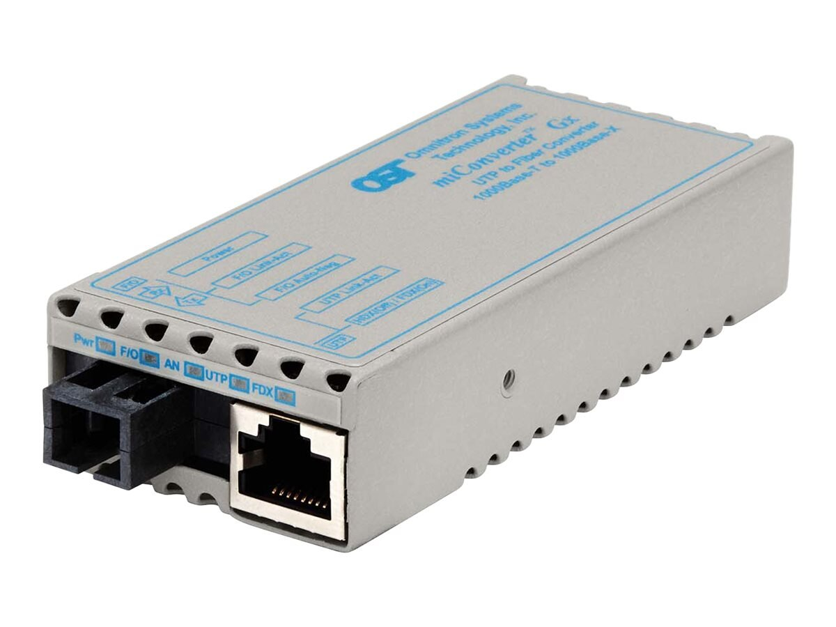 Omnitron Miconv 1000BT RJ45 to 1000B-BX SC SM TX1310NM RX1550NM 40KM USB, 1210-2-6, 9402911, Network Transceivers