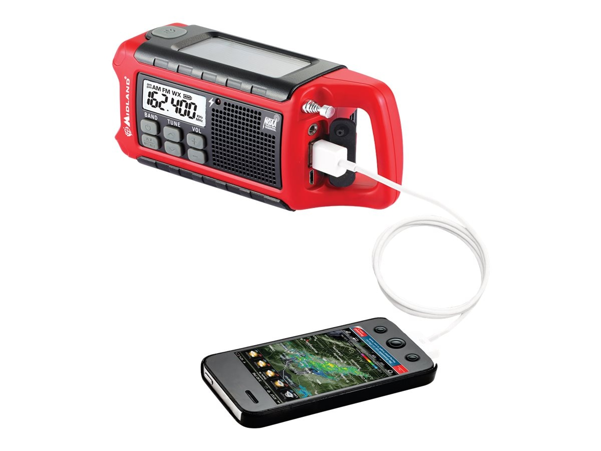 Midland Radio EMERGENCY COMPACT CRANK RADIO  PERPWEATHER ALERTS +SOLAR & BATT OPTION, ER210, 31444309, Two-Way Radios